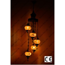 Mosaic Lamp 5 Lamps With Dome Hanging No2 Glass _HKSH5002WD