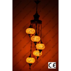 Mosaic Lamp 5 Lamps With Dome Hanging No3 Glass _HKSH5003WD