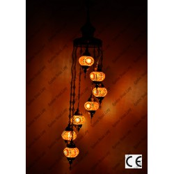 Mosaic Lamp 7 Lamps With Dome Spiral Hanging No2 Glass _HKSH9002WD