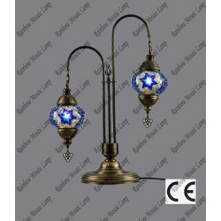 Double Swan Style Mosaic Floor Lamp No2 Glass