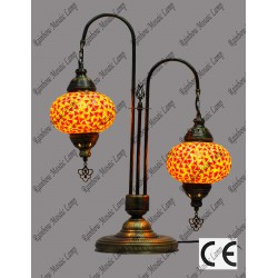 Double Swan Style Floor Mosaic Lamp No3 Glass