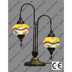Double Swan Style Mosaic Floor Lamp No3 Glass